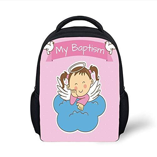 Kids School Backpack Baptism,Pair of Wings on a Cloud Girl Baptism Anniversary Baby Announcement Cartoon Art,Light Pink Blue Plain Bookbag Travel Daypack Glitter Mesh Wings