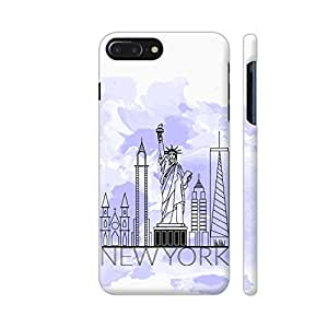 Colorpur iPhone 7 Plus Cover - New York Line Art On Watercolors Printed Back Case