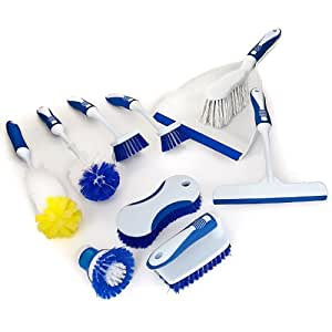 Cleaning Set - 7 Brushes and Water Squeegee Hand Brush and Dustpan