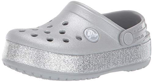 Crocs crocband glitter clog kids, zoccoli unisex-bambini, argento (silver 040), 28/29 eu