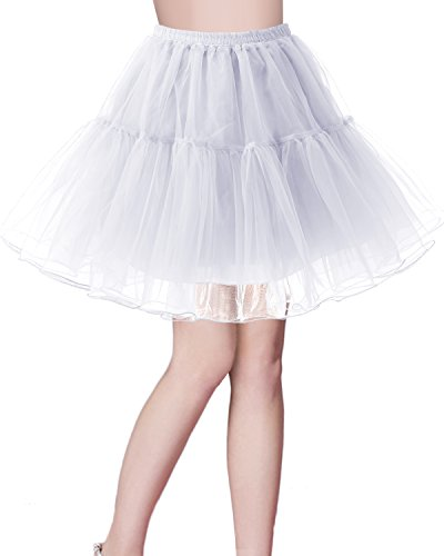 bridesmay Kurz Retro Petticoat Rock 1950er Vintage Tutu Ballett Unterkleid Weiß M