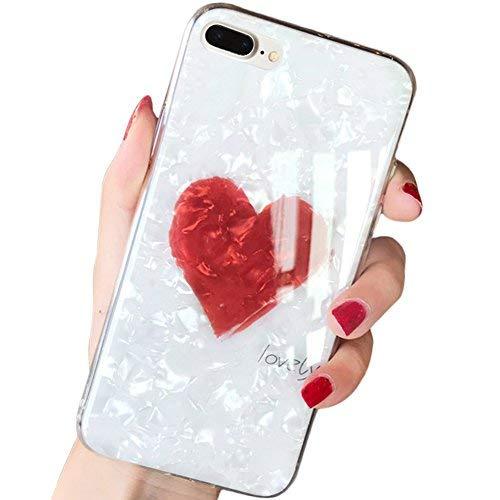 sqmcase Seashell Muster Hart PC Rückseite mit Lovely Herz Form + Clear Soft TPU Schutzhülle für Apple, iPhone 8/7 Plus, iPhone 8/7 Plus(White) Pattern-thin Hals