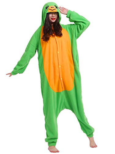 Jumpsuit Onesie Tier Karton Fasching Halloween Kostüm Sleepsuit Cosplay Overall Pyjama Schlafanzug Erwachsene Unisex Lounge Kigurumi Schildkröte for Höhe 140-187CM