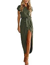 YOINS Sommerkleid Damen Lang Maxikleider für Damen Strandkleid Sexy Kleid Kurzarm Jerseykleider Strickkleider Rundhals mit Gürtel