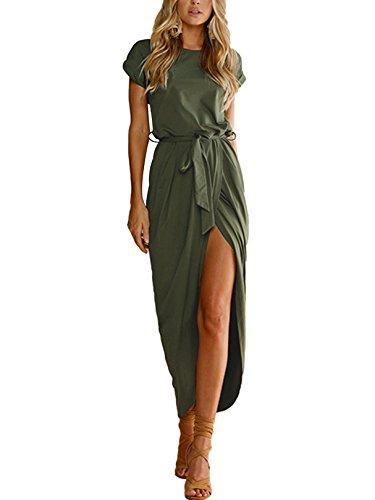 YOINS Robe Sexy Femme Manches Longues Robe Maxi Longue Élégante Robe Soirée Asymétrique Robe Tunique Bohême Grand Taille,Vert Armée,S
