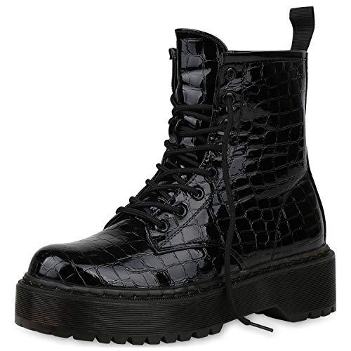 SCARPE VITA Damen Stiefeletten Plateau Boots Leicht Gefütterte Lack Stiefel Kroko-Optik Schuhe Schnürstiefeletten Worker Booties 187334 Schwarz Schwarz Kroko 39