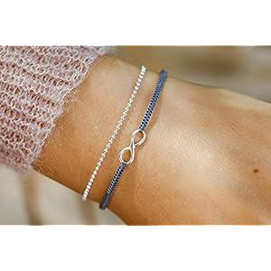 Infinity Armband Set 925 silber größenverstellbar
