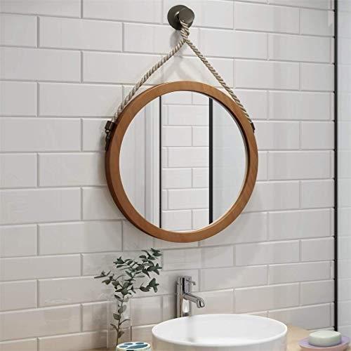 Hollywood Kostüm Vintage - Mirror Spiegel Runde Badezimmer Wand hängenden Spiegel, Home Schlafzimmer Wand montiert Schminktisch Schminkspiegel, Vintage Hanfseil Dekoration, natürliche Holzrahmen LITL