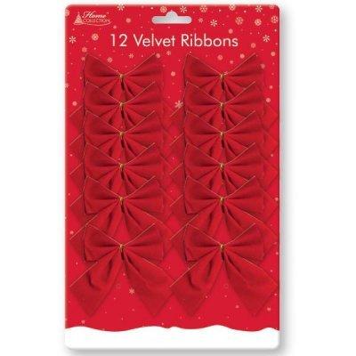 12lazos terciopelo rojo arpillera Navidad árbol