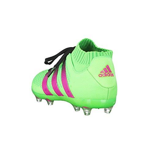 adidas - Ace 16.1 Primeknit Fg/Ag J, Scarpe da calcio Unisex – Bimbi 0-24 Verde / rosa / nero (Versol / Rosimp / Negbas)