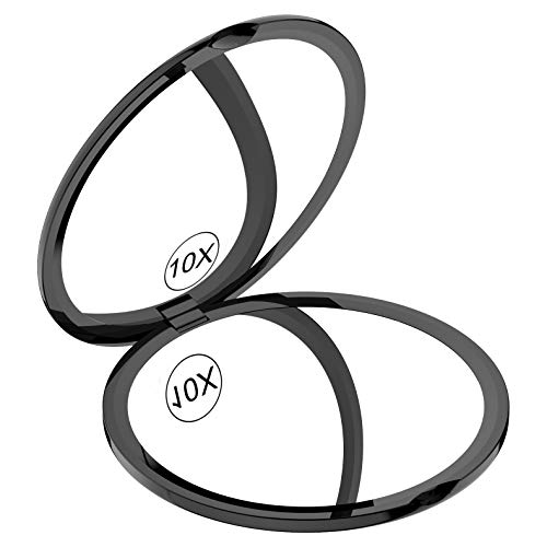 Gospire Tragbarer Taschenspiegel 4 Zoll Ultra Dünn Kompaktspiegel Rund Doppelseitiger mit 1x/10x Vergrößerung Klappbarer Kleiner Schminkspiegel für Einkaufen, Reise Schwarz