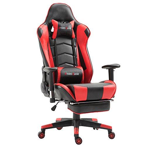 Grande Taille Racing Chaise de Gaming Dossier Haut Siège et Réglable Repose-Pied avec Têtière Support Lombaire Flexible Idéal pour Chaise (Rouge/Noir)