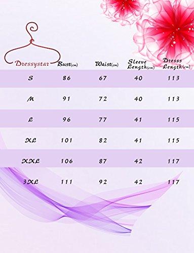 Dressystar Spitzenkleid unter Knie 3/4 Ärmel Lang Damen Abendkleid Sexy Herzform Grau