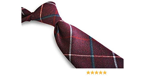 17aeca263b07 Frederick Thomas mens wool tweed tie in dark red with red and blue check:  Amazon.co.uk: Clothing