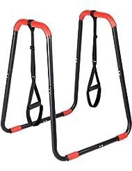 SportPlus SP-LE-005 - Barres parallèles Pro XL - Fitness / Gym / Musculation -  Hauteur: 100cm - Avec Sangles de Suspension - Barres parallèles Hautes pour Dips, Pompes etc. - Musclent et gainent Pectoraux, Jambes, Ventre, Biceps, Triceps, Cuisses etc.