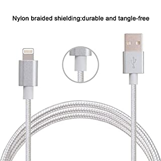 ARTLU® Original Lightning USB 3m Nylon Ladekabel Datenkabel knotenfrei für Apple iPhone 5, 5s, 5c, SE, iPhone 6, 6s, 6 Plus, Ipod und iPad mit Lightning Protect Anschluss in Grau