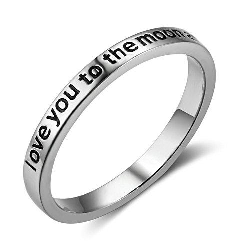 Bishilin 925 Sterling Silber Ring Damen Hochglanzpoliert mit Gravur