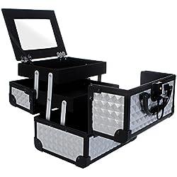 Maletín Para Maquillaje con Espejo Caja de Cosméticos Estuches de Maquillaje, 19.5 x 15 x 16 cm, Plateado