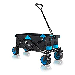 SAMAX Bollerwagen Handwagen Gartenwagen Strandwagen Klappbar Faltbar Transportwagen - Schwarz/Blau