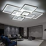 TINS Deckenleuchte,LED Modern Deckenlampe,Aluminium Acryl Rechteck Deckenlampe Wohnzimmer, Pendelleuchte,Hängelampe,Kronleuchter,8 Kopf Kühles Weiß
