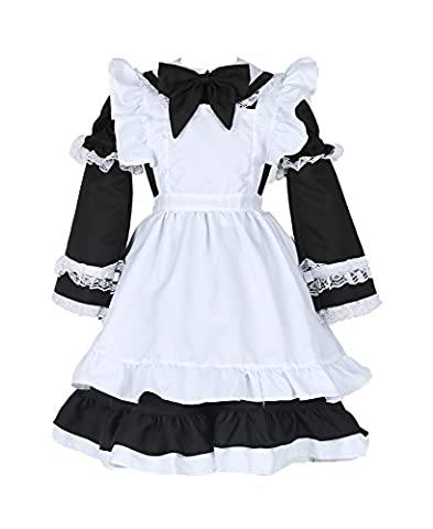Lolita Maid Kostüm Magd Cosplay Kellnerin Uniform mit Schürze für Restaurant / Festival / Party / Abschlussball / Halloween Kinder Mädchen (Kellnerin Kostüm Kind)