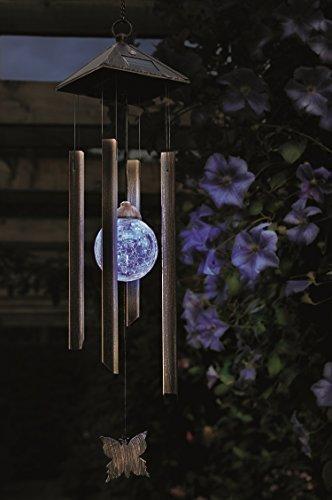 LED Solar LED Windspiel Himmelsklänge wetterfest mit Farbwechsel Kristall Kugeln - sehr hochwertig verarbeitetes wetterfestes Windspiel beleuchtet mit Farbwechsel