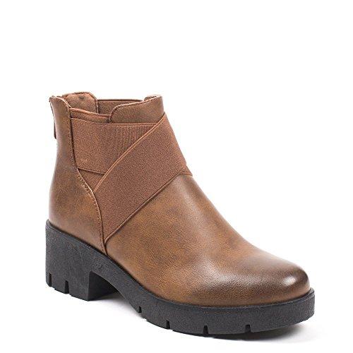 Ideal Shoes – Scarponcini in similpelle stile Chelsea con elastici  priscaline Marrone