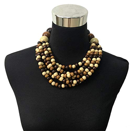 Damen Halskette Statement-Kette, Böhmen Multi Schichten Holz Perlen Anweisung Halskette Frau Mode handgemachte Choker Kragen Bib Schmuck Sommer Trend Modeschmuck Choker Halsketten ( Farbe : Braun ) -