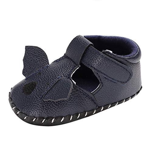 Babyschuhe cinnamou Sommer Sandale mit weichen Sterne Krippe Schuhe Baby Leder Lauflernschuhe Junge Mädchen Kleinkind 0-6 Monate 6-12 Monate 12-18 Monate (12~18 Monate, Dunkelblau)