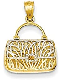 ICE CARATS 14k Yellow Gold Reversible Heart Handbag Pendant Charm Necklace Fine Jewelry Gift Set For Women Heart