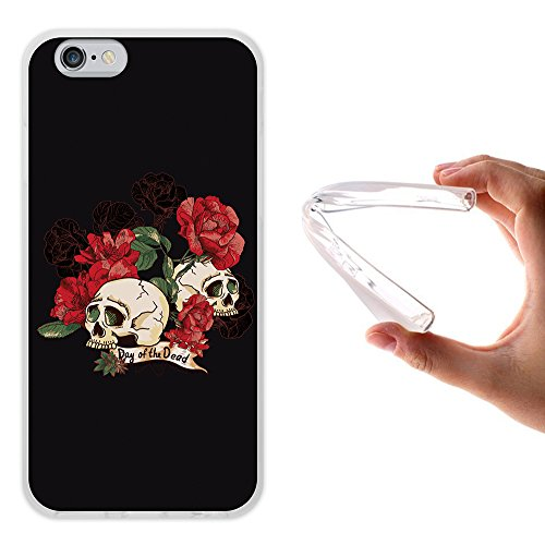 iPhone 6 6S Hülle, WoowCase Handyhülle Silikon für [ iPhone 6 6S ] Schwarzer zuckeriger Totenkopf Handytasche Handy Cover Case Schutzhülle Flexible TPU - Schwarz Housse Gel iPhone 6 6S Transparent D0143