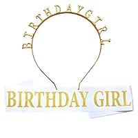 Amerisky Birthday Girl Tiara and Sash, Gold Headband and Satin Sash Set for Girls Happy Birthday Party Decorations