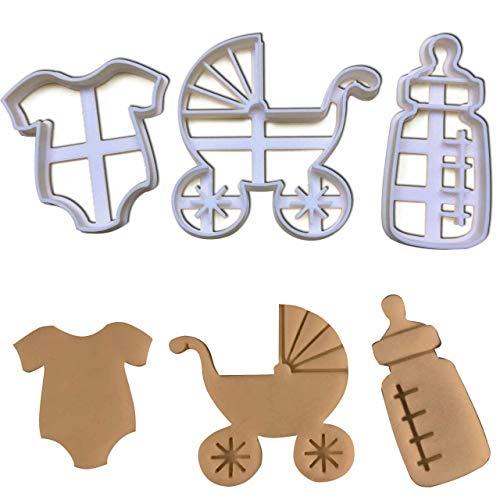 Mutterschaft, Baby Strampelanzug (Bakerlogy 3er Set Baby Ausstechformen (Formen: Babyflasche, Kleidung und Kinderwagen), 3 Teile)