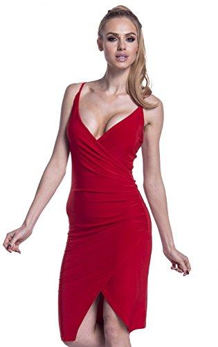 Glamour Empire. Femme Robe Moulante Soyeux Bretelles Devant Cache-Coeur. 234 Rouge