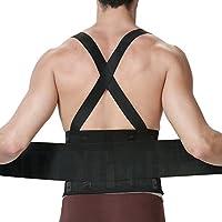 Faja para la espalda para hombres con tirantes, apoyo lumbar para el dolor en la parte inferior de la espalda, cinturón de culturismo / halterofilia, entrenamiento, seguridad en el trabajo y postura - Marca NEOtech Care ( TM ) - Color Negro - Talla XL