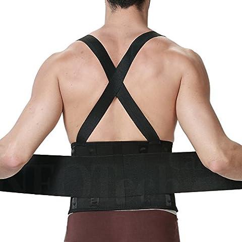 Faja para la espalda para hombres con tirantes, apoyo lumbar para el dolor en la parte inferior de la espalda, cinturón de culturismo / halterofilia, entrenamiento, seguridad en el trabajo y postura - Marca NEOtech Care ( TM ) - Color Negro - Talla