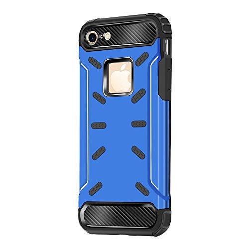 """iPhone 8 Plus Housse , SHANGRUN Hybrid Defender Aluminium Métal + Fibres de Carbone Resilient Souple TPU Antichoc Case Etui Housse pour iPhone 7 Plus / iPhone 8 Plus 5.5"""" Bleu Bleu"""