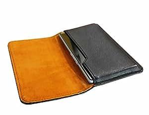 LXM ™ (BKBN) Black Side Leather Pouch Mobile Cover Case for Lava Iris Fuel F1 Mini