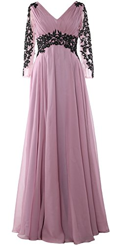 MACloth Women V Neck Mother of the Bride Dress Long Sleeve Formal Evening Gown Ash Pink
