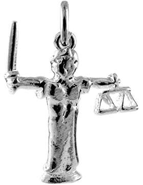 TheCharmWorks Sterling-Silber Justitia Charmanhänger   Sterling Silver Lady of Justice Charm