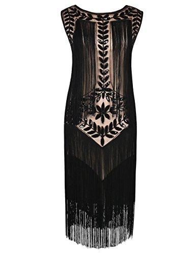 kayamiya Damen Great Gatsby Kleid 1920er Paillette Quaste Charleston Kleider M Schwarz Beige