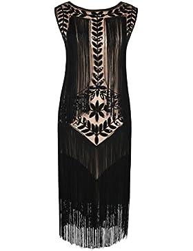 Kayamiya Damen Great Gatsby Kleid 1920er Paillette Quaste Charleston Kleider