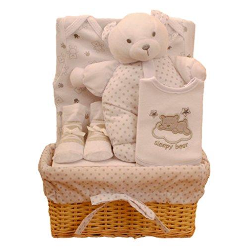 Bee Bo Baby-Geschenk- Set mit Körperanzug, Lätzchen , Socken und Teddy -Bär in einem Rattan -Korb . 0 - 3. Monate. Erhältlich in Blau , Rosa , Sahne, Zitrone oder Weiß . (Teddy-bär Mit Socke)