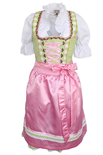 Alpenmärchen, 3tlg. Dirndl-Set - Trachtenkleid, Bluse, Schürze, Gr.42, grün-rosa, ALM3035