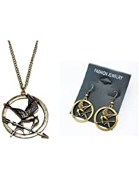 Fashion-Parure de Collier et Boucles d'oreilles en Bronze Antique en Forme de Motif de Hunger Games Ridicule Bird Style Tendance Chic