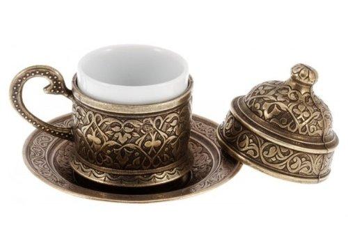 Kupfer Espressotasse Türkischer Kaffee Tasse und Untertasse osmanischen Stil (Altmessing)