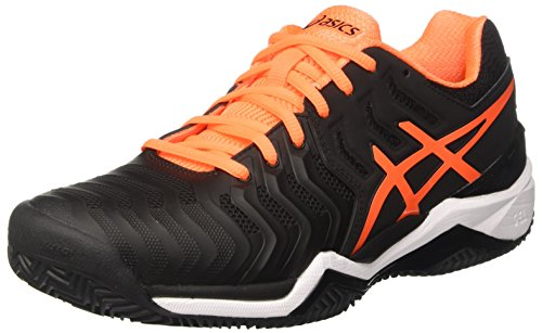ASICS Gel-Resolution 7 Clay, Scarpe da Ginnastica Uomo, Nero (Black/Shocking Orange/White), 43.5 EU