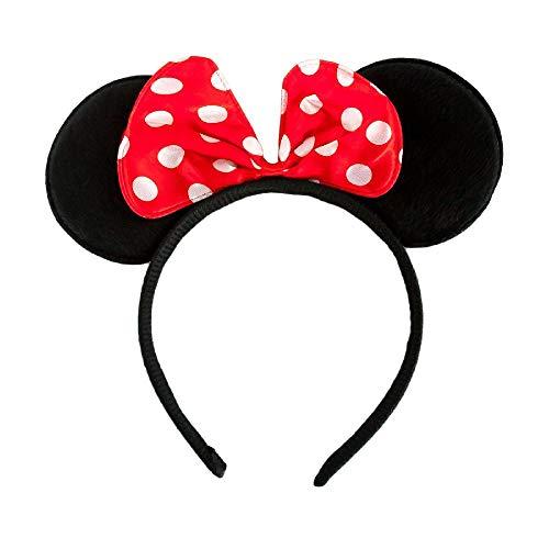 ler Haarreifen Micky Mickey für Damen Frauen Kostüm mit Schleife Minnie Mini Mouse Maus Mausohren Ohren (1x Haarreif Maus) ()