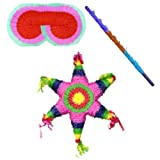 Mexican Star Pinata Kit -Includes Pinata, Pinata Buster, Pinata Blindfold