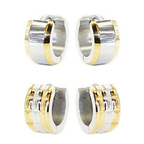 value-pack-2-pairs-polished-castle-stud-outer-gold-rimmed-inner-silver-stainless-steel-men-women-uni